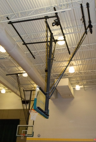 Roll fold rear braced backstop arizona courtlines inc Indoor basketball court ceiling height
