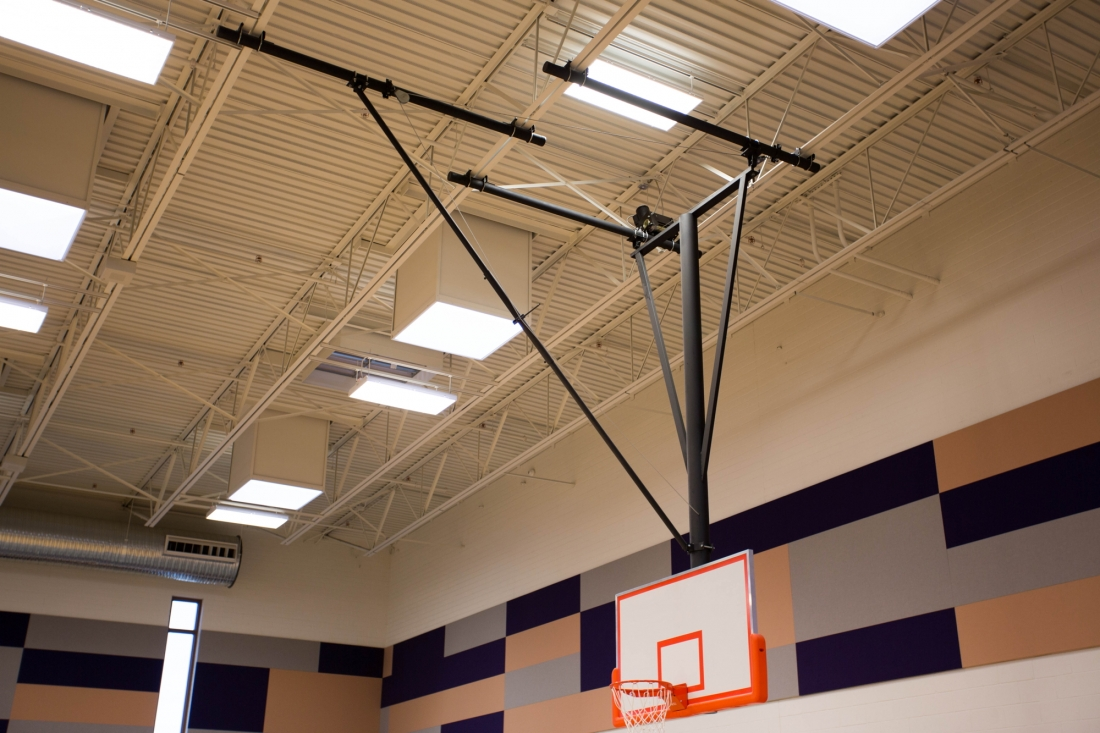 Forward fold front braced backstop arizona courtlines Indoor basketball court ceiling height