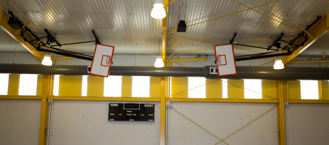 Side fold front braced backstop arizona courtlines inc for Badminton court ceiling height